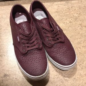 Women's vans with keyhole cutout pattern. Maroon.